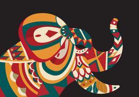 Ilustração em vetor de elefante pintado decorativo