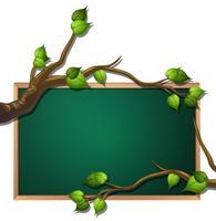 Bandeira de lousa em branco de folha de árvore vetor