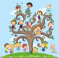 Crianças e árvore vetor