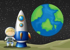 Espaço e astronauta vetor