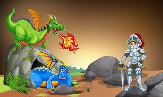 Cavaleiro com dois dragões na caverna vetor