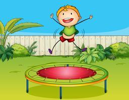 Um, menino, jogando trampoline vetor