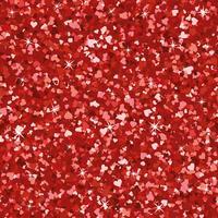 Textura de glitter vermelho brilhante sem costura. Shimmer corações amor fundo. vetor