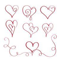 conjunto de corações de vindima de caligrafia vermelho florescer. Mão de ilustração vetorial desenhada 10 EPS vetor