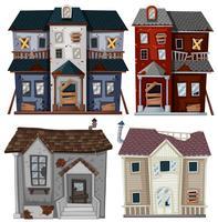 Casas antigas em muito mau estado vetor