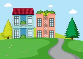 Uma paisagem de natureza rural casa vetor