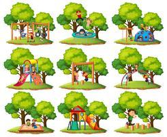 Conjunto de cenas de parque infantil vetor