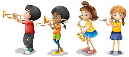 Crianças, tocando, instrumentos musicais