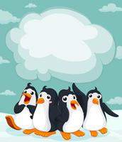 Grupo de pinguim no gelo vetor