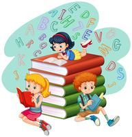 Três, crianças, leitura, livros vetor