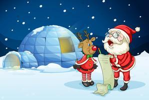 Papai Noel e renas vetor