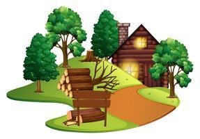 Cabana de madeira com muitas árvores vetor