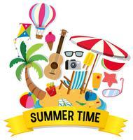 Tema de verão com artigos de praia na ilha vetor