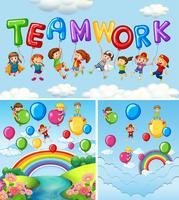 Crianças e balões para o trabalho em equipe da palavra vetor