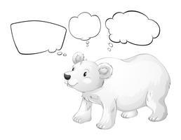 Um urso polar branco com textos explicativos vazios vetor