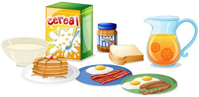 Muitos tipos de comida no café da manhã vetor