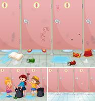 Cena, de, crianças, limpeza, um, banheiro vetor