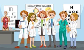 Equipe de médicos no hospital vetor