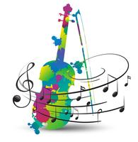Violino colorido e notas musicais em branco vetor