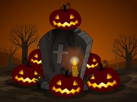 Uma noite de Halloween no cemitério vetor