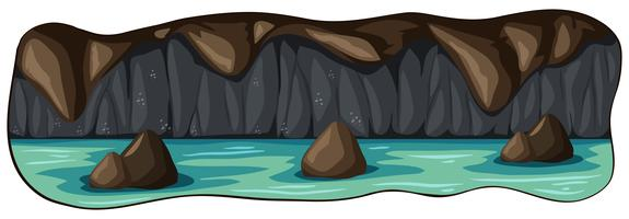 Uma caverna de rio subterrâneo assustador vetor