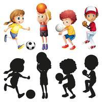 Crianças fazendo diferentes tipos de esportes