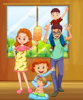 Família com pais e três filhos vetor