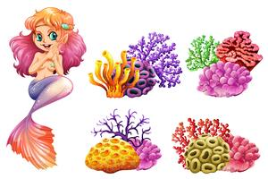 Sereia bonita e recifes de corais coloridos vetor