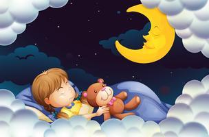 Menininha, dormir, com, teddybear, à noite, tempo vetor