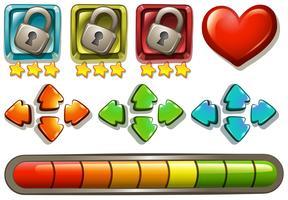Elementos do jogo com fechaduras e setas vetor