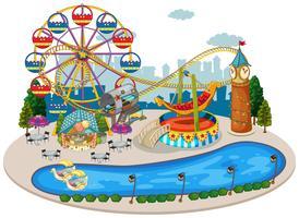 Um mapa da feira de diversões vetor