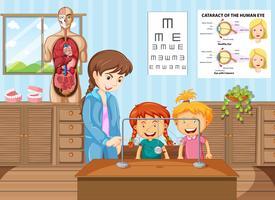 Professor e alunos aprendendo na sala de aula de ciência vetor