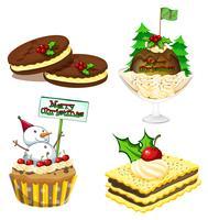 Quatro sobremesas para o natal vetor
