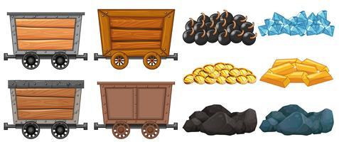 Carrinhos de pedra e mineração diferentes vetor