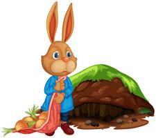 Uma agricultura de coelho bonito dos desenhos animados vetor