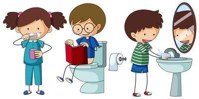 Crianças, fazendo, diferente, rotina, em, banheiro vetor