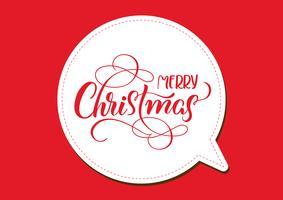 quadro vermelho do feriado com Feliz Natal no fundo branco. caligrafia e letras. Ilustração vetorial EPS10 vetor