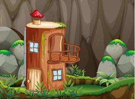 Casa de madeira na natureza vetor