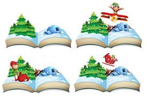 Livro aberto de paisagem de inverno vetor