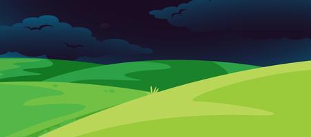 A cena da colina à noite vetor