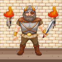 Guerreiro Viking segurando a espada vetor