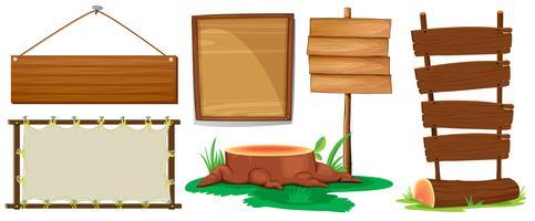 Sinais de madeira vetor
