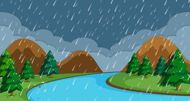 Uma cena chuvosa de noite