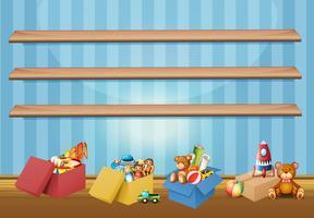 Prateleiras vazias e brinquedos no chão