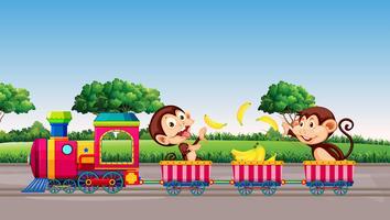 Macaco andando de trem vetor