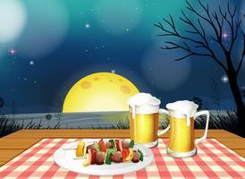 Jantar de churrasco com cerveja gelada vetor