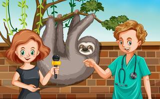Veterinário sendo entrevista no zoológico vetor