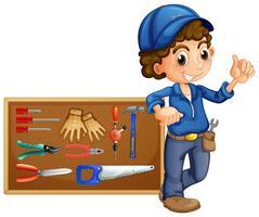 Mecânico com muitas ferramentas vetor