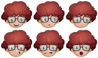 Menino, com, óculos, tendo, diferente, emoções