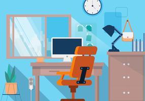 Office Desk Creative Designer Vector Fundo Plano